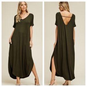 1 LEFT! Olive Oversized T-Shirt Maxi Dress, L